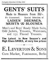 Cornmarket Leverton Advert 1931