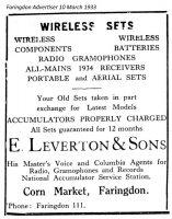 Cornmarket Leverton Advert 1933