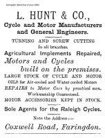 Coxwell Rd Hunt Advert 1903