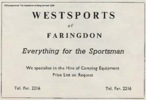 Coxwell St Westsports Advert 1966