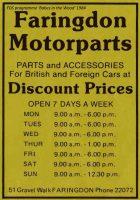 Gravel Walk Motorparts Advert 1984