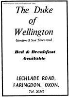 Lechlade Rd Duke Wellington Advert 1988