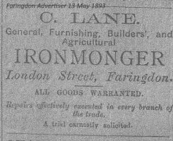 London St Lane Advert 1893