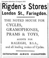 London St Rigden Advert 1931