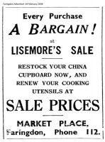 Market Pl Lisemore Advert 1936
