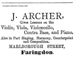 Marlborough St Archer Advert 1891