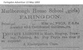 Marlborough St School Advert 1893