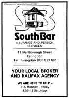 Marlborough St Southbar Advert 1988