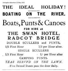Radcot Swan Advert 1931