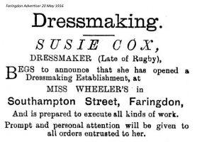 Southampton St Cox Advert 1916