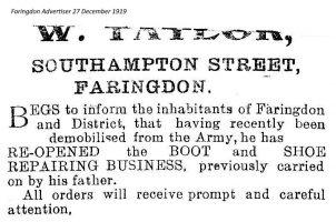 Southampton St Taylor Advert 1919