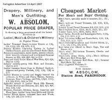 Station Rd Absolom Advert 1907