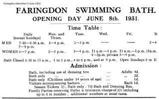 Swimming Bath Advert 1931