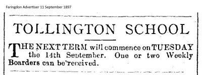 Tollington School Advert 1897